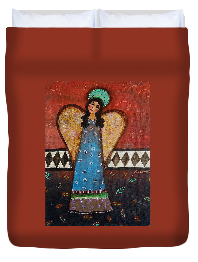 Mexican Duvet Cover featuring the painting Angel by Pristine Cartera Turkus