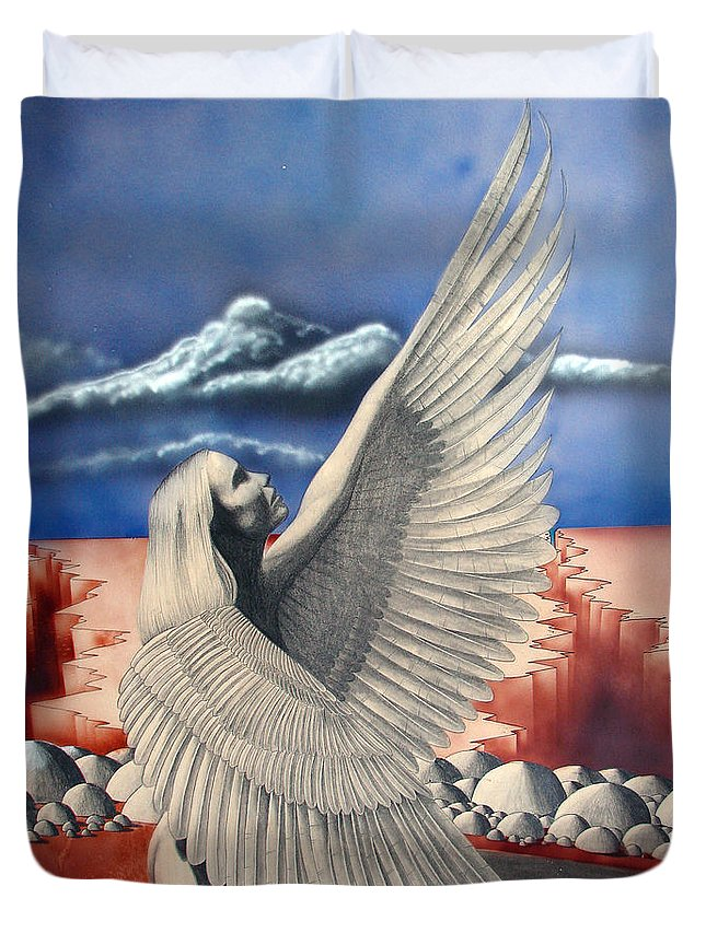 Shaun Duvet Cover featuring the painting Angel by Shaun McNicholas