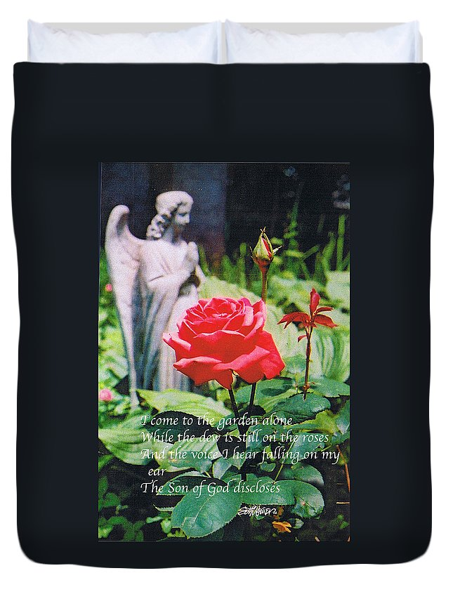 Angel Statute Duvet Cover featuring the photograph Angel with Roses 2 by Seth Weaver