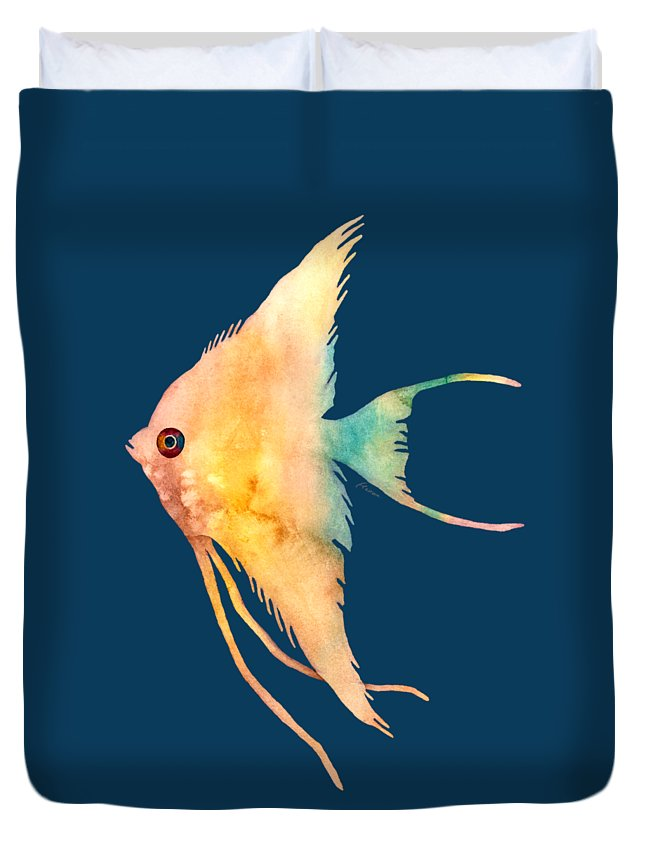 Fish Duvet Cover featuring the painting Angelfish II - solid background by Hailey E Herrera