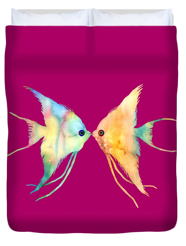 Fish Duvet Cover featuring the painting Angelfish Kissing by Hailey E Herrera