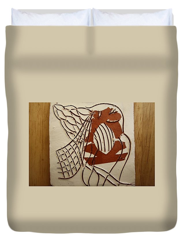 Jesus Duvet Cover featuring the ceramic art Angelica - Tile by Gloria Ssali