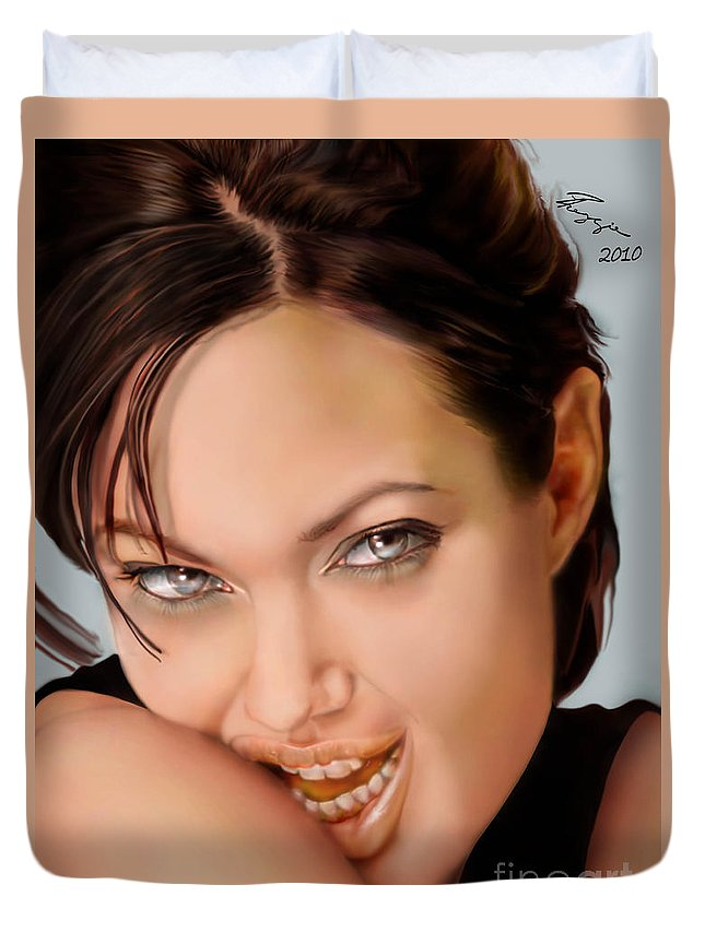 Actress Duvet Cover featuring the painting Angelina Jolie - Cold Seduction by Reggie Duffie