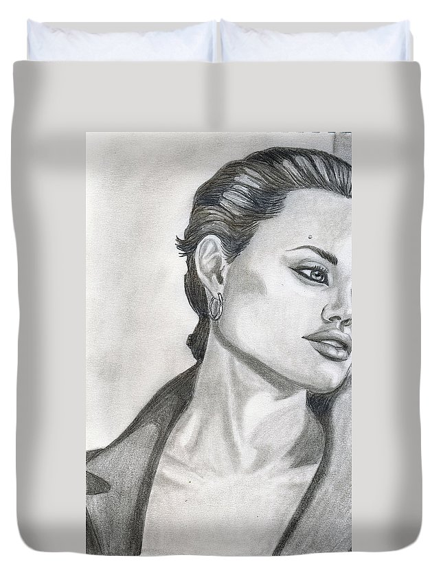 Pencil Duvet Cover featuring the drawing Angelina Jolie by Alban Dizdari