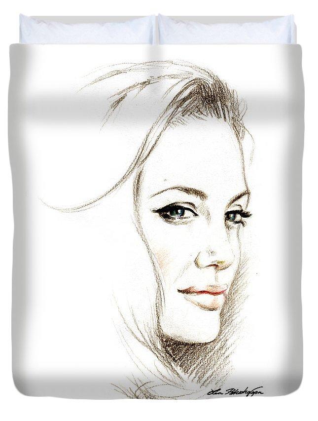 Lin Petershagen Duvet Cover featuring the drawing Angelina Jolie by Lin Petershagen