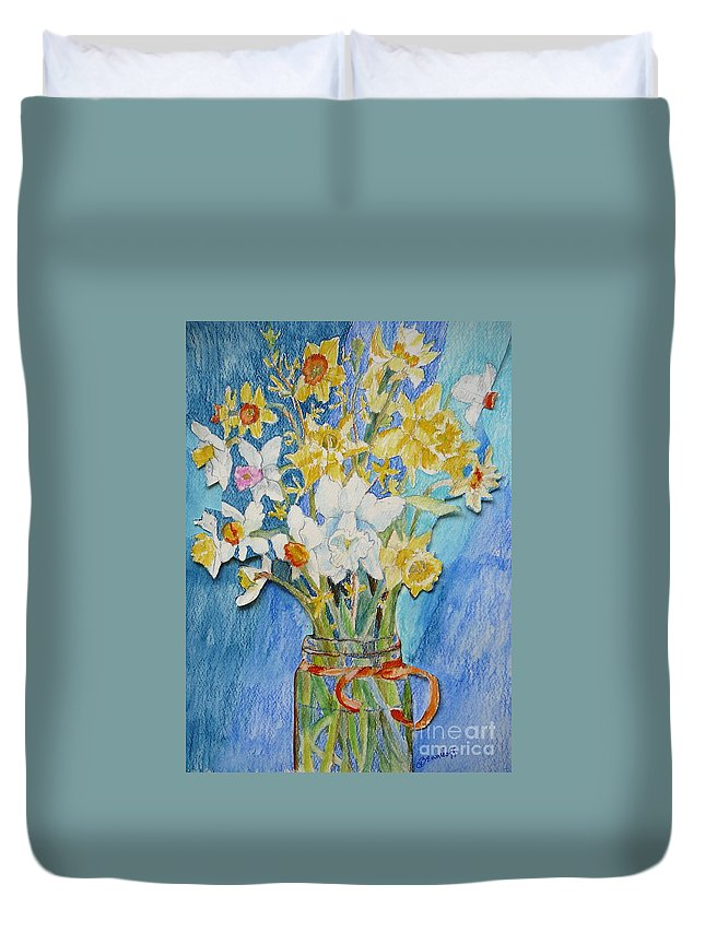 Flowers Duvet Cover featuring the painting Angels Flowers by Jan Bennicoff