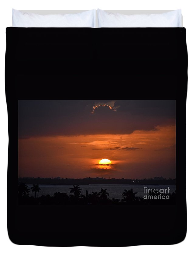 Miami Beach Duvet Cover featuring the photograph Angel's Head Sunset by Rene Triay Photography