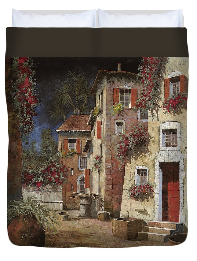 Night Duvet Cover featuring the painting Angolo Buio by Guido Borelli