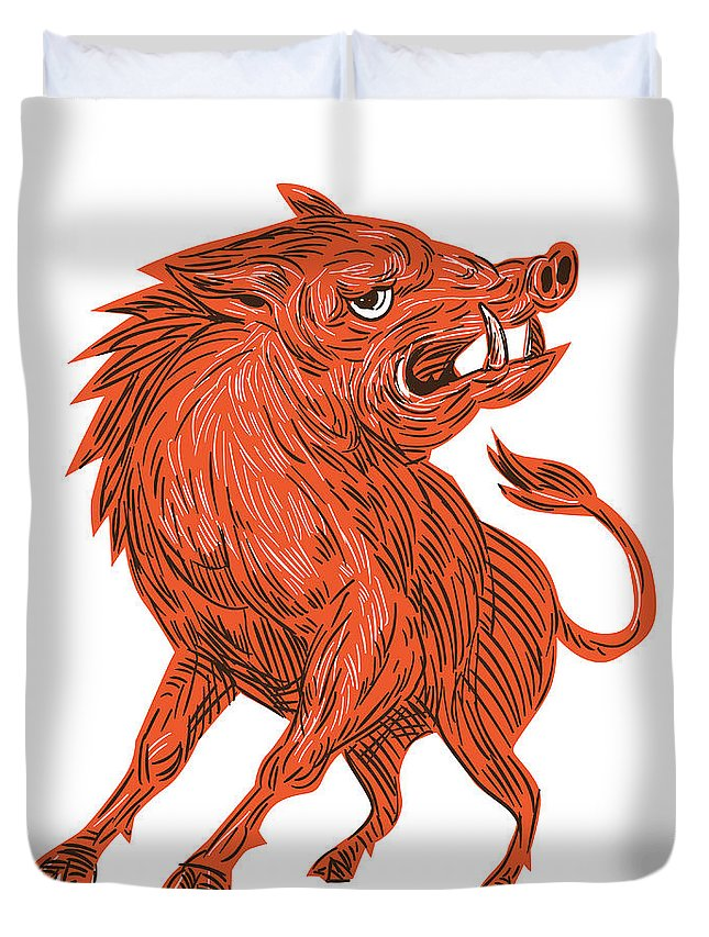 Drawing Duvet Cover featuring the digital art Angry Razorback Ready To Attack Drawing by Aloysius Patrimonio
