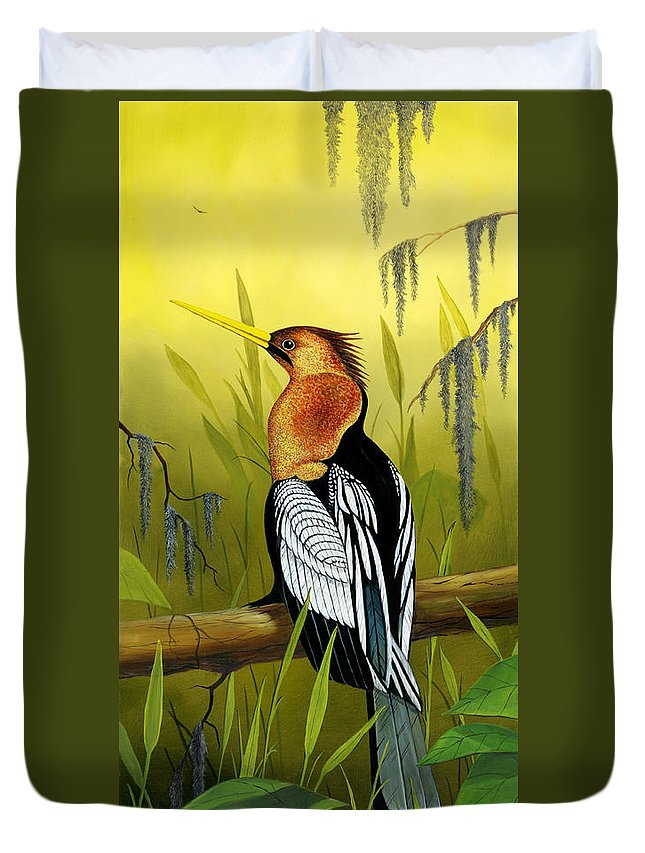 Bird Duvet Cover featuring the painting Anhinga by Don Griffiths