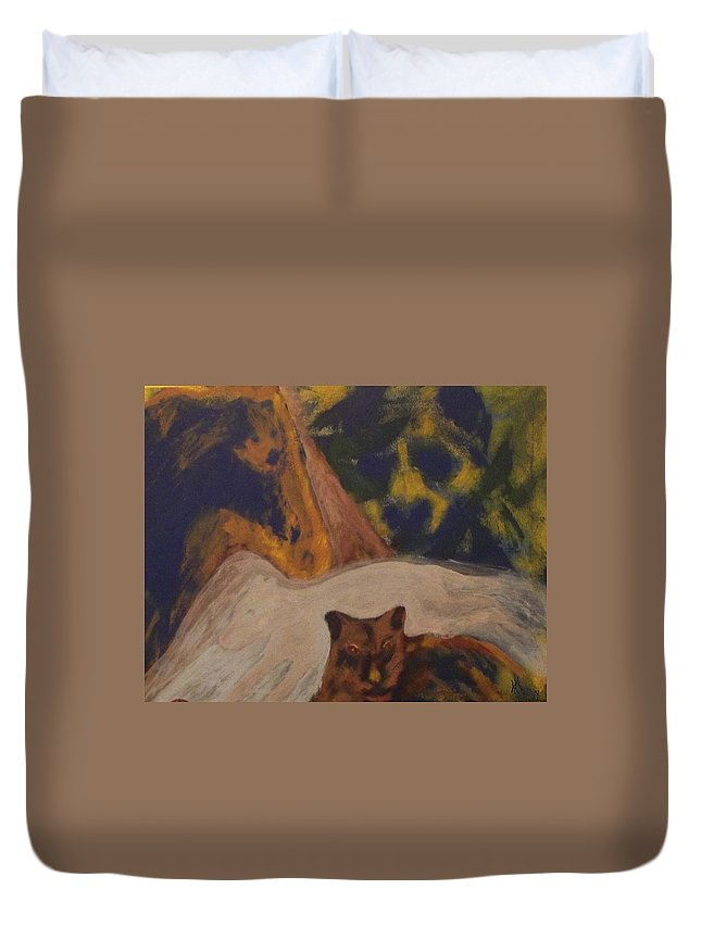 Animals Bear Cougar Wolf Horse Nature Wildlife Native Aboriginal Metis Duvet Cover featuring the mixed media Animals -039 by Will Logan