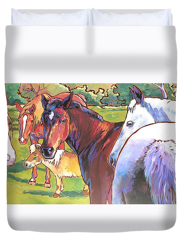Horses Duvet Cover featuring the painting Anjelica Huston's Horses by Nadi Spencer