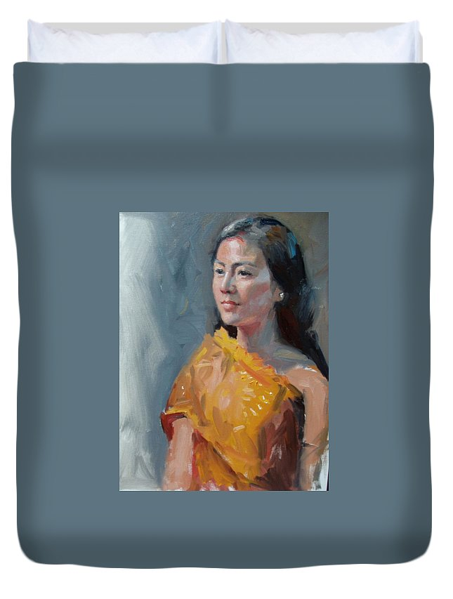 Portrait Duvet Cover featuring the painting Anna by Dianne Panarelli Miller