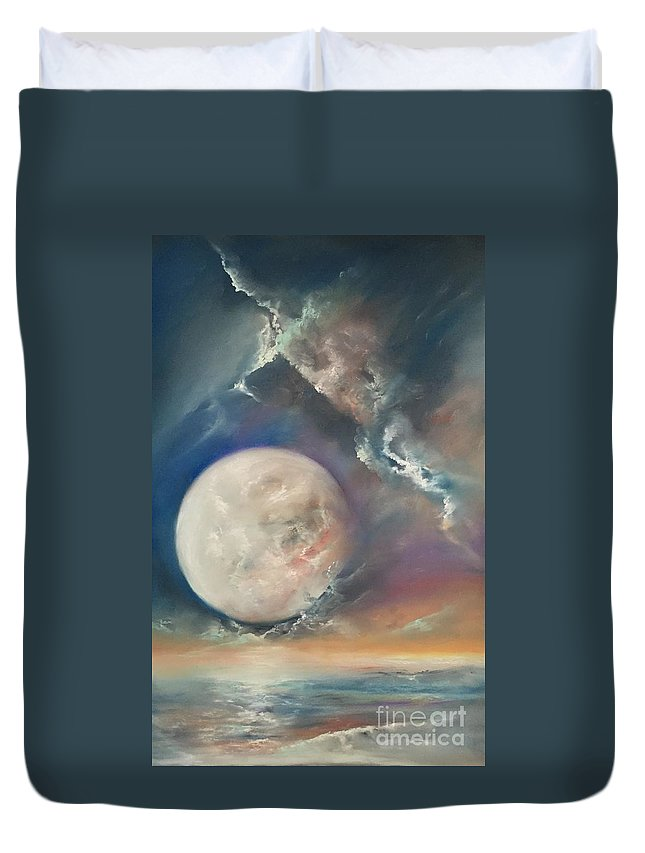 Pastel Duvet Cover featuring the pastel Anna Maria Moonset by Lex Halakan