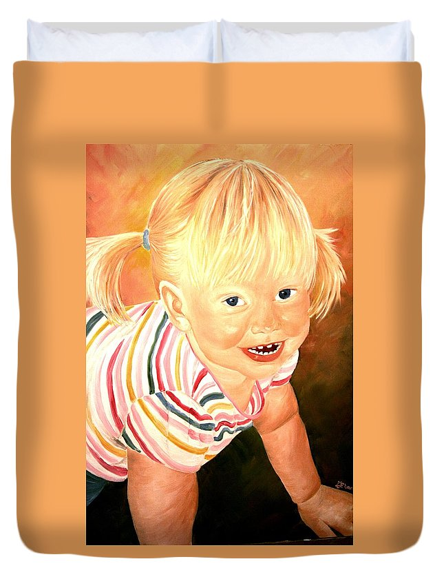 Girl Duvet Cover featuring the painting Anna by Melissa Wiater Chaney