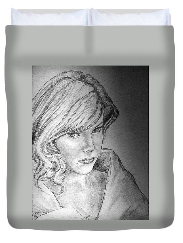 Anne Francis Duvet Cover featuring the drawing Anne Francis by Bryan Bustard