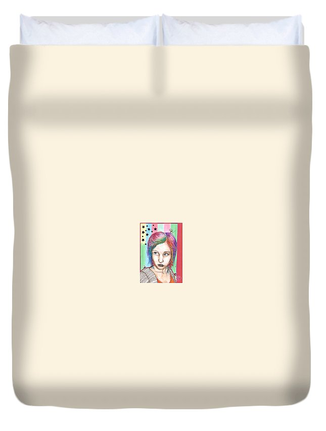 Stars Duvet Cover featuring the drawing Anne Sofie by Freja Friborg