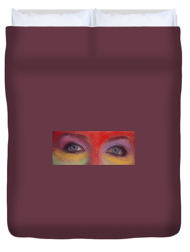 Annie Duvet Cover featuring the painting Annie S Eyes by Steve K