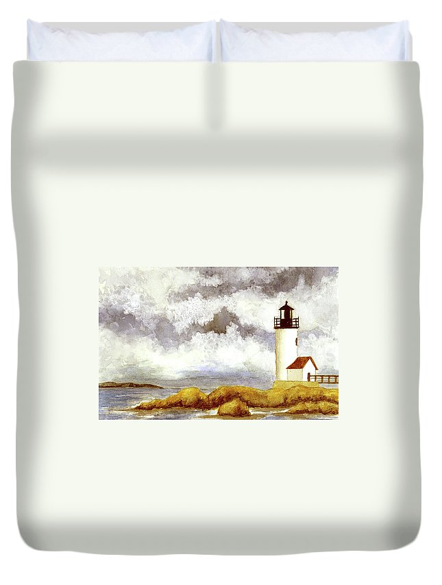 Lighthouse Duvet Cover featuring the painting Annisquam Harbor Lighthouse - Winter Scene by Michael Vigliotti