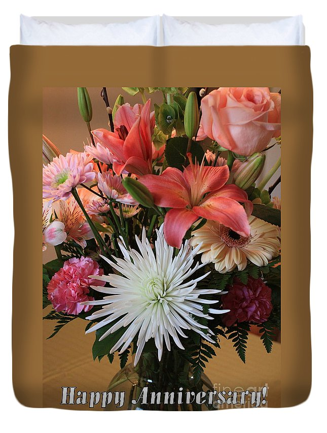 Bouquet Duvet Cover featuring the photograph Anniversary Card by Carol Groenen