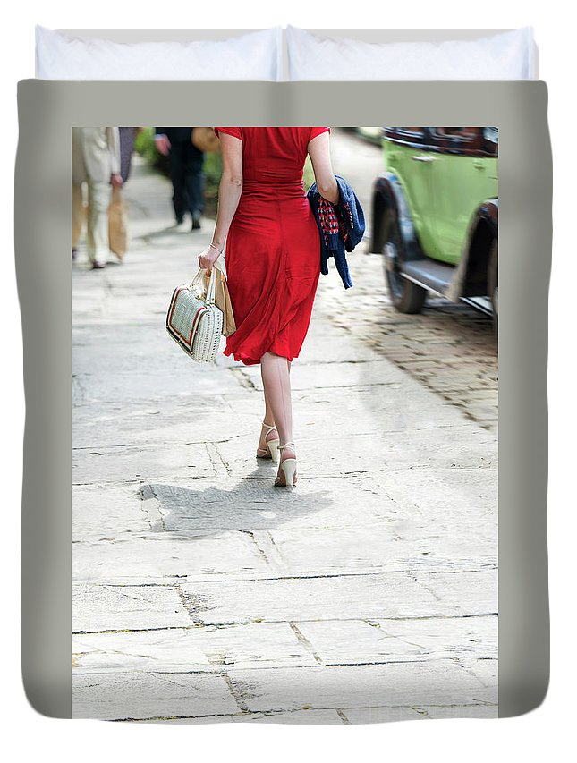 1940s Duvet Cover featuring the photograph Anonymous 1940s Woman by Lee Avison