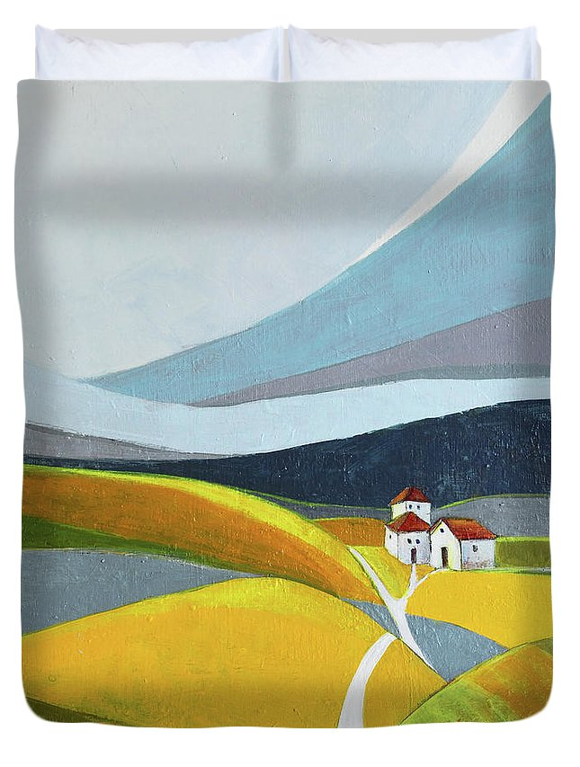 Landscape Duvet Cover featuring the painting Another day on the farm by Aniko Hencz