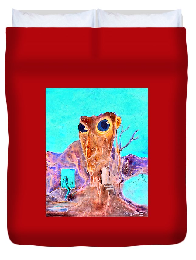 Surreal Color Eyes Structure Duvet Cover featuring the painting Another Few Seconds In My Head by Veronica Jackson