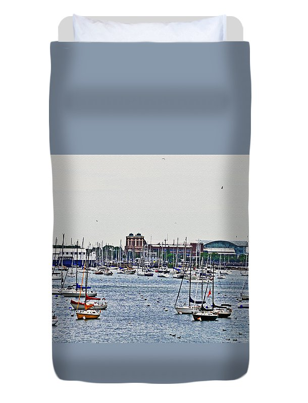 Boats Duvet Cover featuring the photograph Another Harbor View by Lydia Holly