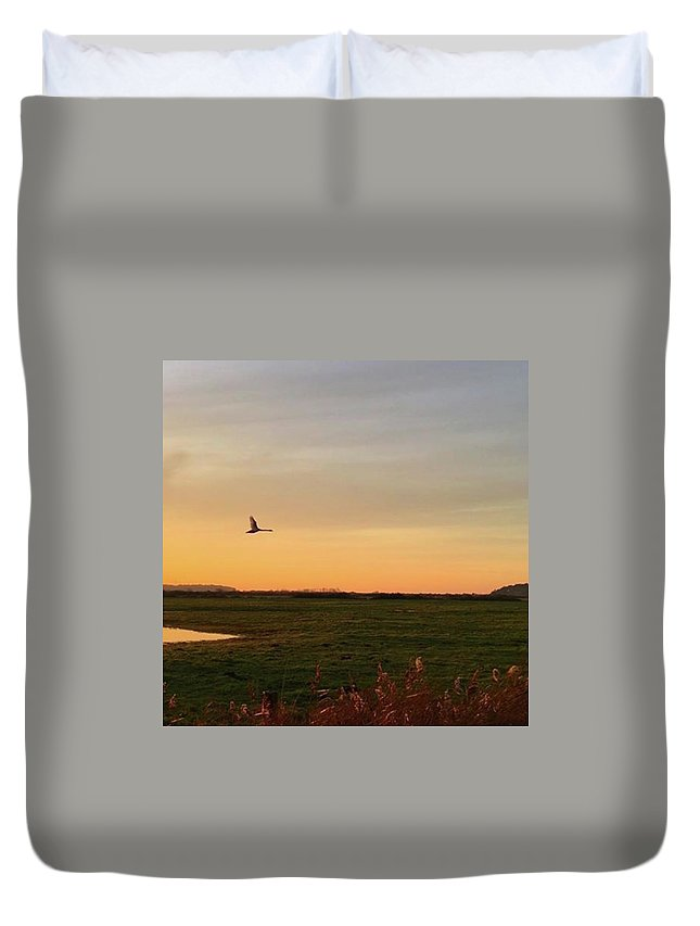 Natureonly Duvet Cover featuring the photograph Another Iphone Shot Of The Swan Flying by John Edwards