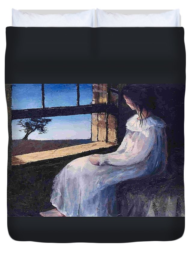 Woman In Window Duvet Cover featuring the painting Another Sleepless Night by Janet Lavida