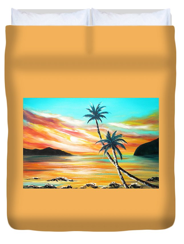 Sunset Duvet Cover featuring the painting Another Sunset In Paradise by Gina De Gorna
