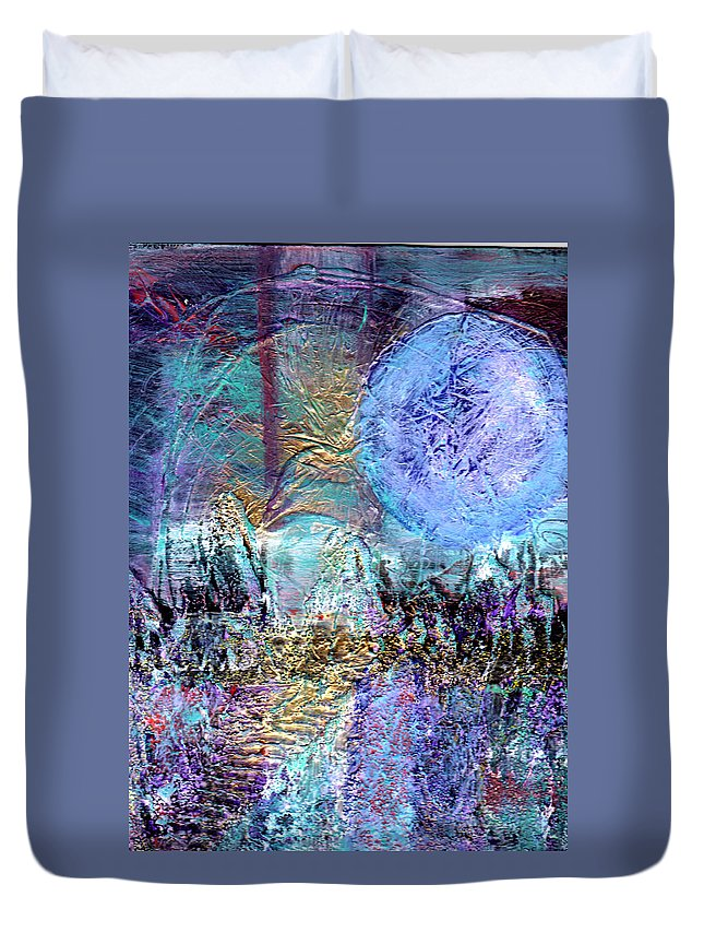 Surreal Duvet Cover featuring the painting Another World by Wayne Potrafka