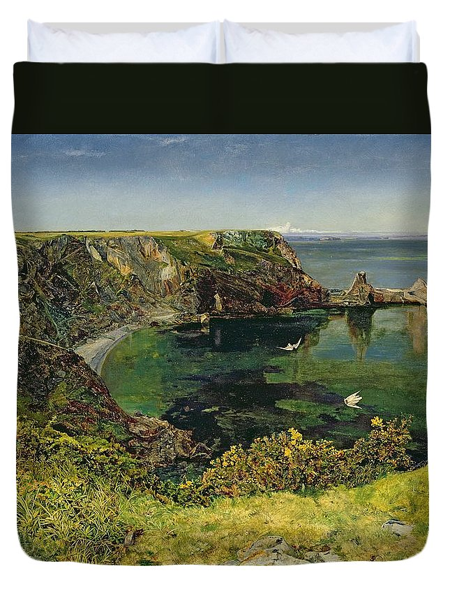 John William Inchbold Duvet Cover featuring the painting Anstey's Cove In Devon by John William Inchbold