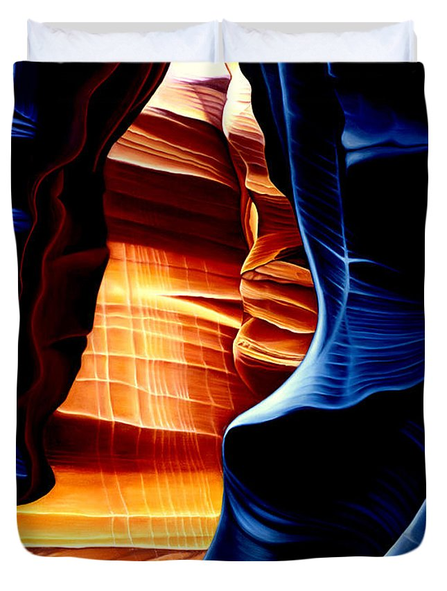 Landscape Duvet Cover featuring the painting Antelope Canyon by Anni Adkins