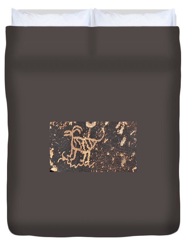 Native American Art Duvet Cover featuring the photograph Antelope Petroglyph by David Arment