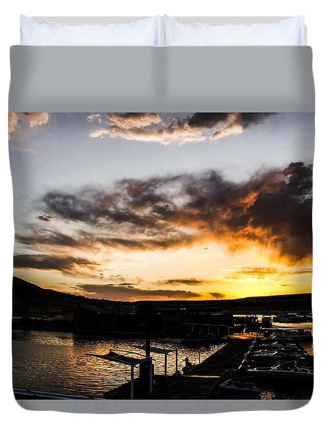 Water Duvet Cover featuring the photograph Antelope Sunset by Tyler Mcbride