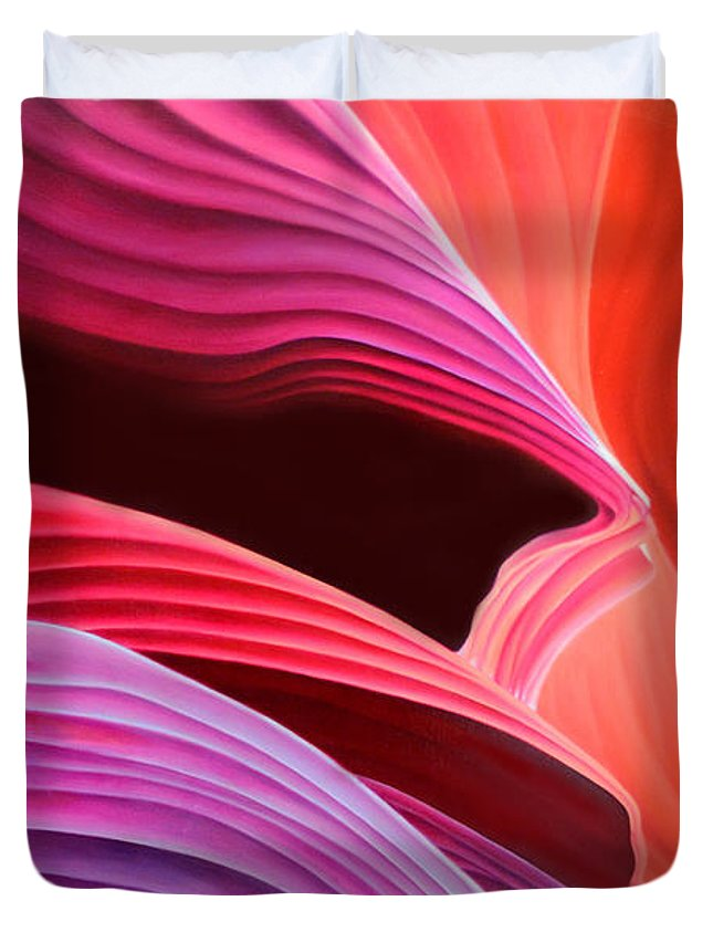 Antelope Canyon Duvet Cover featuring the painting Antelope Waves by Anni Adkins