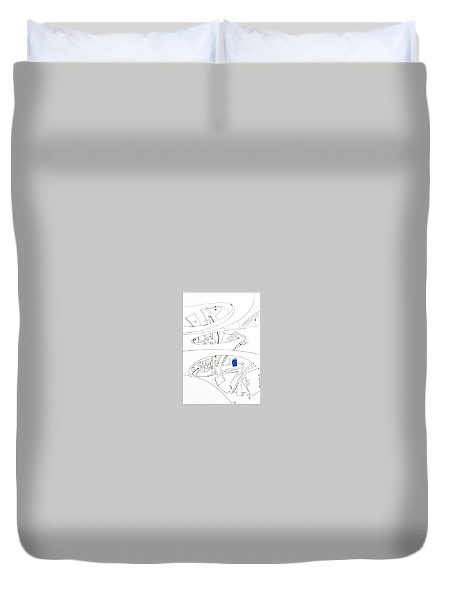 Wind Duvet Cover featuring the drawing Antennas. Wind Spout by Edi APOSTU
