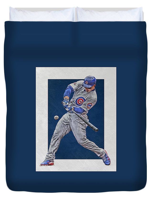 Anthony Rizzo Duvet Cover featuring the mixed media Anthony Rizzo Chicago Cubs Art 1 by Joe Hamilton