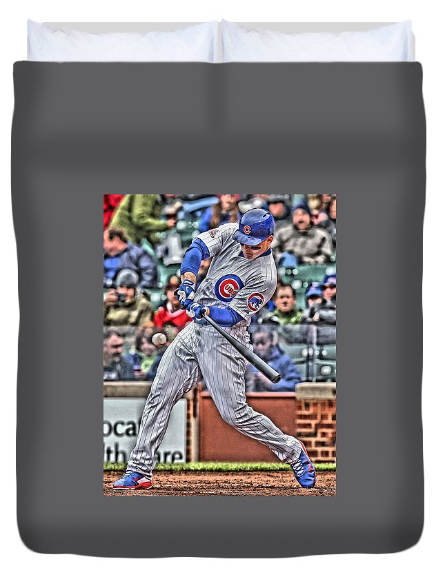Anthony Rizzo Duvet Cover featuring the painting Anthony Rizzo Chicago Cubs by Joe Hamilton