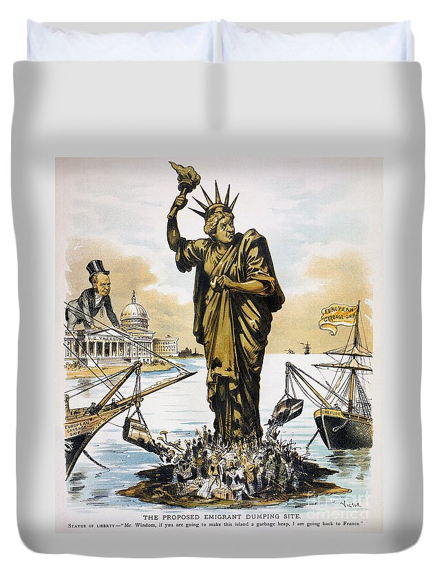 1890 Duvet Cover featuring the photograph Anti-immigration Cartoon by Granger