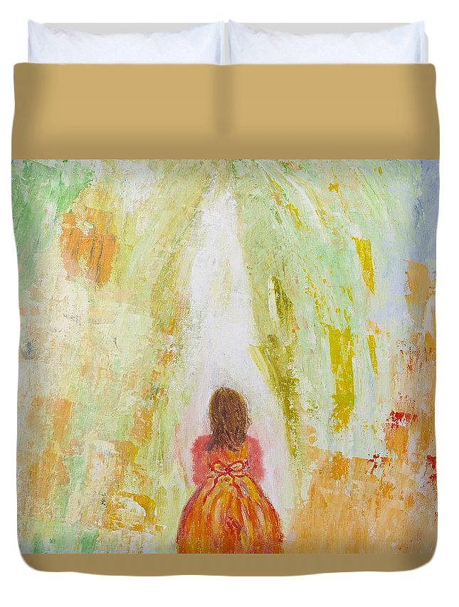 Abstract Duvet Cover featuring the painting Anticipation by Marianne Eichenbaum