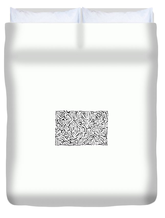 Mazes Duvet Cover featuring the drawing Anticipative by Steven Natanson