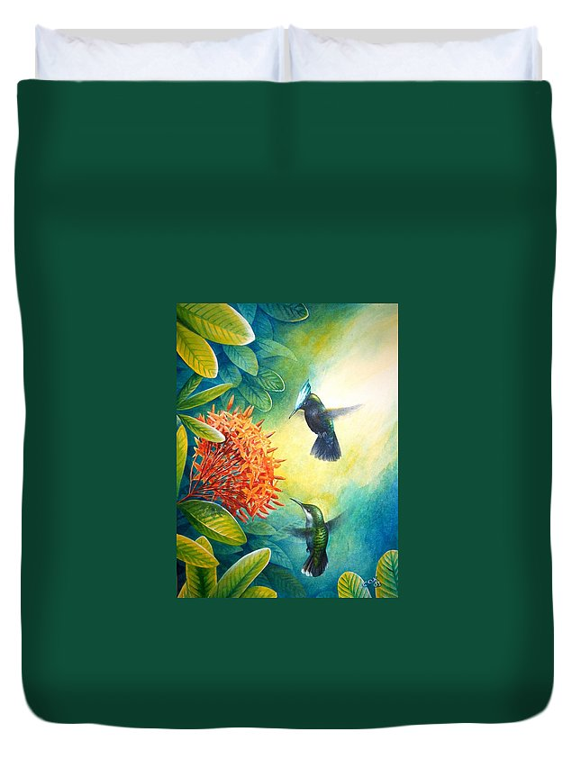 Chris Cox Duvet Cover featuring the painting Antillean Crested Hummingbirds and ixora by Christopher Cox