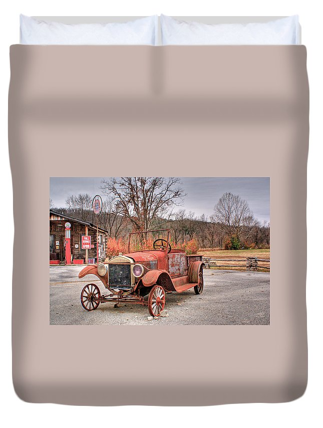 Antique Duvet Cover featuring the photograph Antique Car And Filling Station 1 by Douglas Barnett