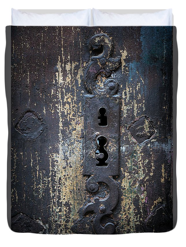 Keyhole Duvet Cover featuring the photograph Antique Door Lock Detail by Elena Elisseeva