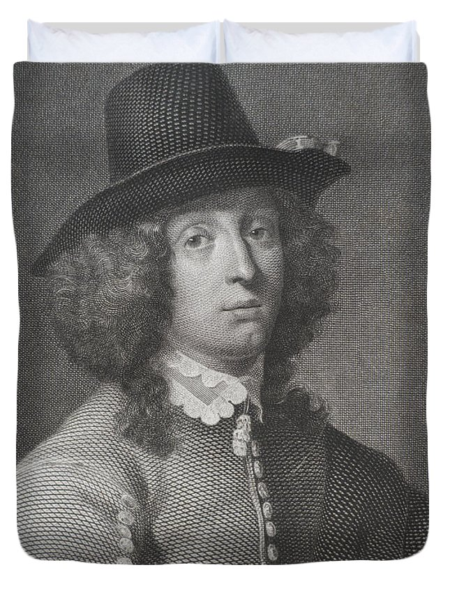 Engraving Duvet Cover featuring the digital art Antique Engraving Of An Elegant Gentleman by Village Antiques