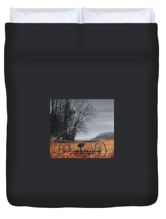 Snowy Meadow Duvet Cover featuring the photograph Antique Farm Equipment by Jason Minigh