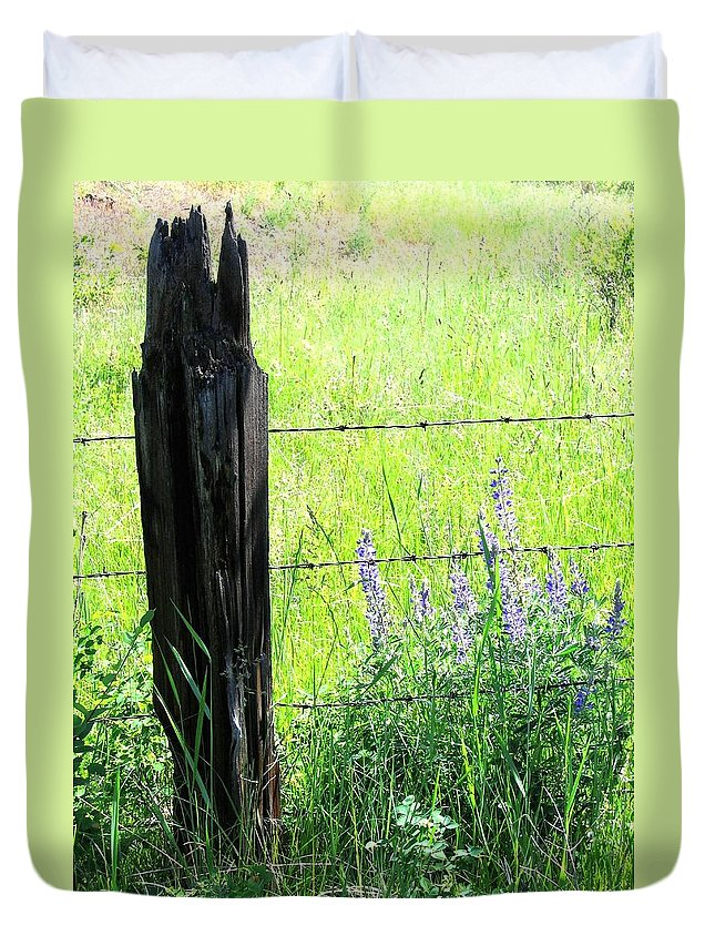 Fence Post Duvet Cover featuring the photograph Antique Fence Post by Will Borden