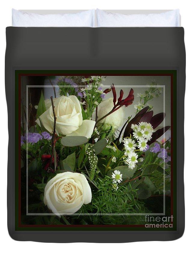 Antique Floral Arrangement Duvet Cover featuring the photograph Antique Floral Arrangement Framed by Sandra Huston